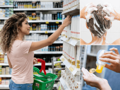 mujer comprando champús